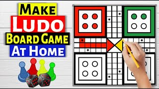 Draw Ludo Game Board : How to Make LUDO with Token and Dice at Home : Ludo Game
