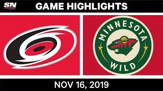 NHL Highlights | Hurricanes vs Wild - Nov. 16, 2019