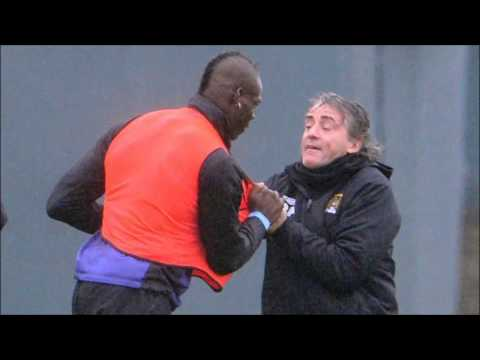 Roberto Mancini vs. Mario Balotelli - Fight at Man City Training
