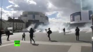 'Smoke grenades' fly as protesters rally against Macron, Le Pen in Paris