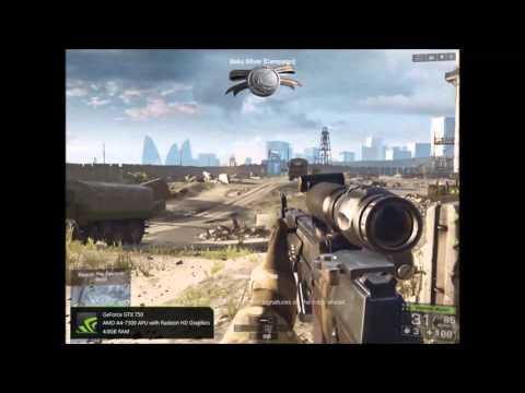 Battlefield 4 (campaign) FPS Benchmark. GTX 750, AMD a4-7300, 4GB DDR3 Ram