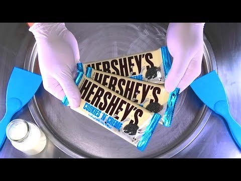 Hershey's Cookies and Cream Chocolate Ice Cream Rolls - huge tasty sweets ASMR Food rolled Ice Cream