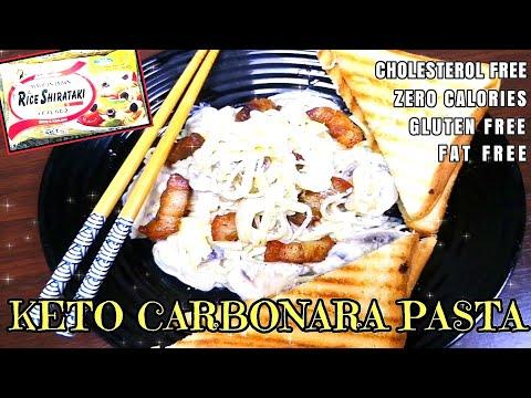 KETO CARBONARA PASTA RECIPE   Low Carb Rice Shirataki Noodles Quick and Easy Keto Meal