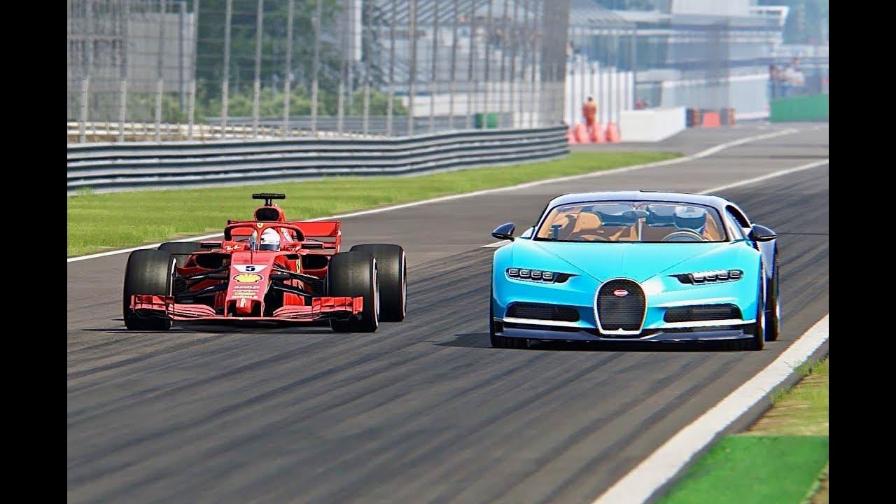 Bugatti Chiron vs Ferrari F1 2018 - Monza