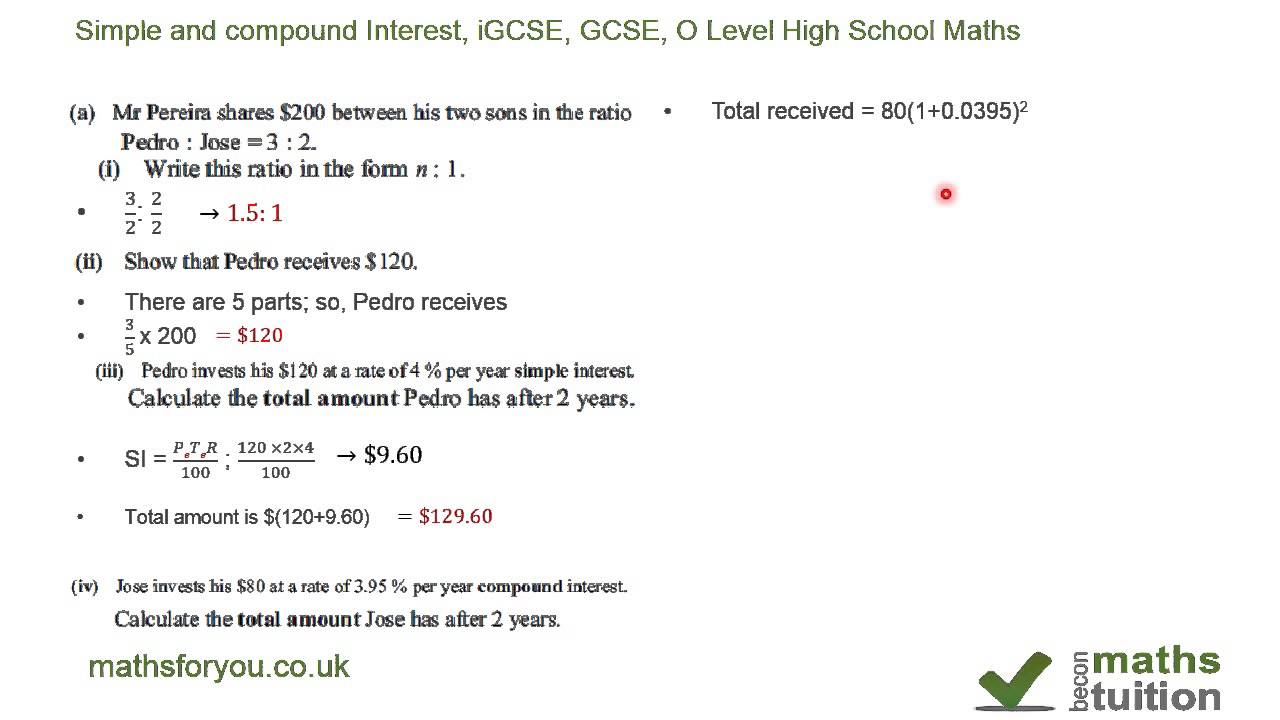 Simple Interest Compound Interest ratio Money managemen iGCSE – Simple Interest Word Problems Worksheet