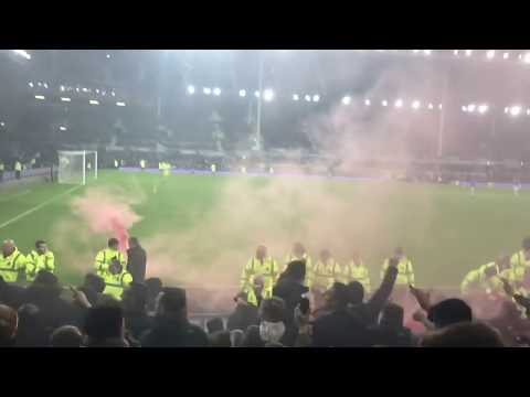 Liverpool fans after late winner at goodison park