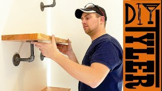Live Edge Shelf with Industrial Black Pipe Hardware  | How To Build