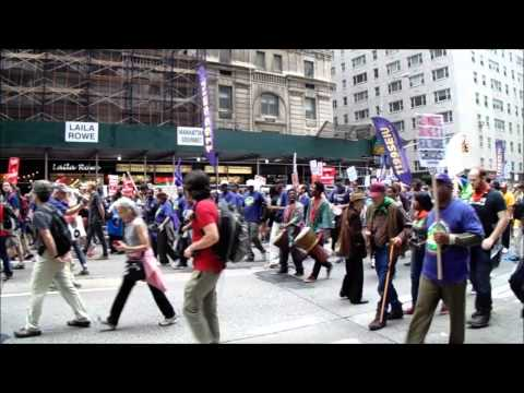At Peoples Climate March, Tubas & Corporations, Policians & UN's Ban Ki-moon