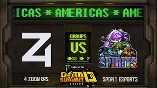 4Zoomers vs Spirits Game 1 - Monster Energy Dota Summit 13 Online NA/SA: Groups w/ rkryptic & Neph