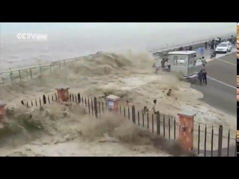 Tidal Bore In Hangzhou China During Typhoon Trami