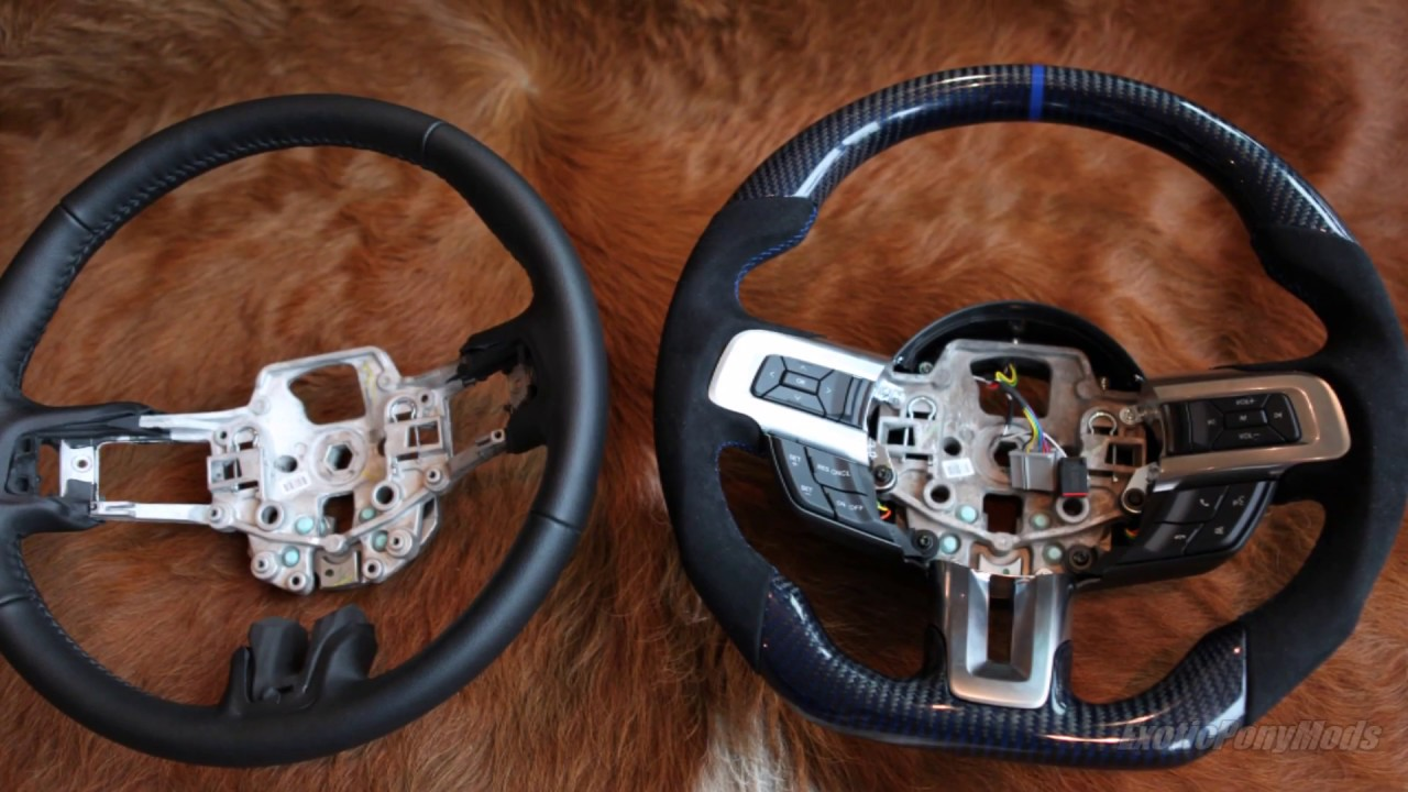 2015 Mustang Wheels >> 2015-2017 Mustang Blue Carbon Fiber + Alcantara flat bottom steering wheel - YouTube