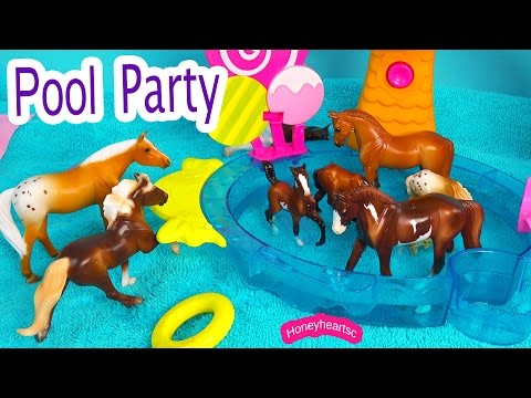 Summer Pool Party - Breyer Horses Stablemates Mares Stallions Foals Horse Water Play Video from YouTube · Duration:  6 minutes 50 seconds