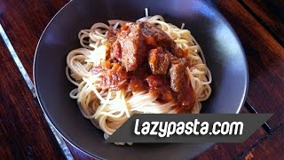 Pastitsada (spicy Beef With Spaghetti In Tomato Sauce) | Easy Pasta Recipes By Lazy Pasta