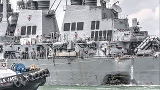 US Navy Ship USS John S. McCain Limps Into Singapore Naval Base After Collision