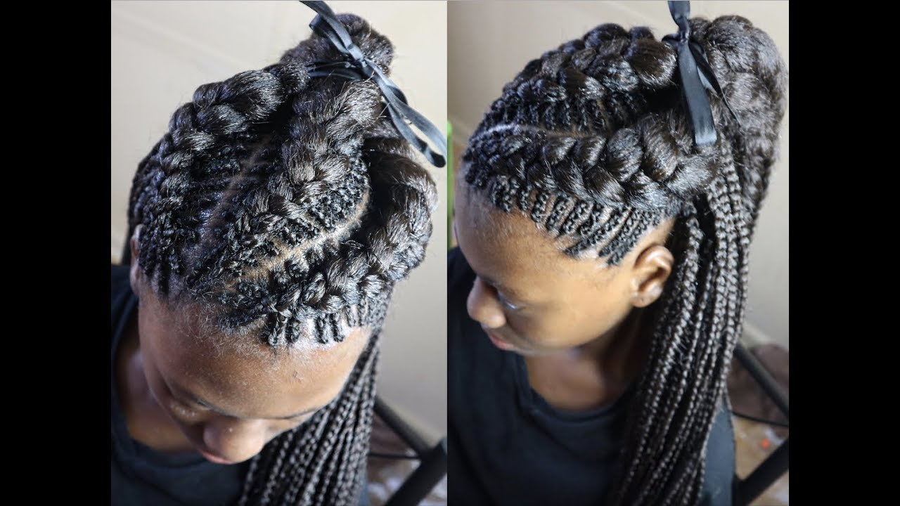 fishbone feed in braids with plaits