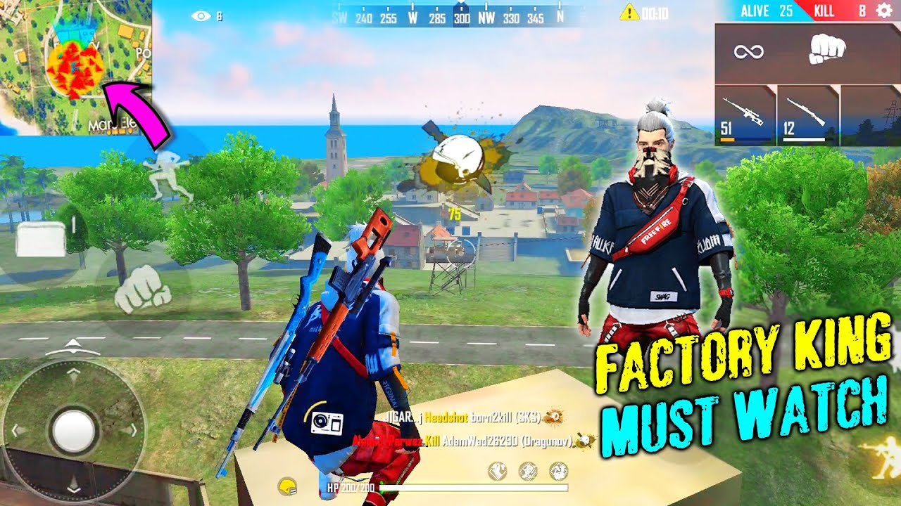 Garena Free Fire Factory Fight King @P.K. GAMERS | Amazing Tricks And Headshots | Solo Ranked Match