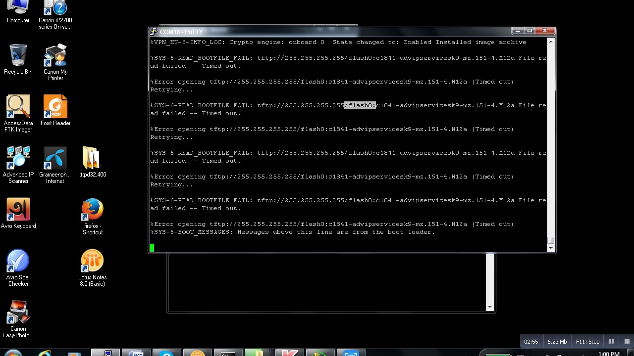 How to solve booting problem of 1841 Router