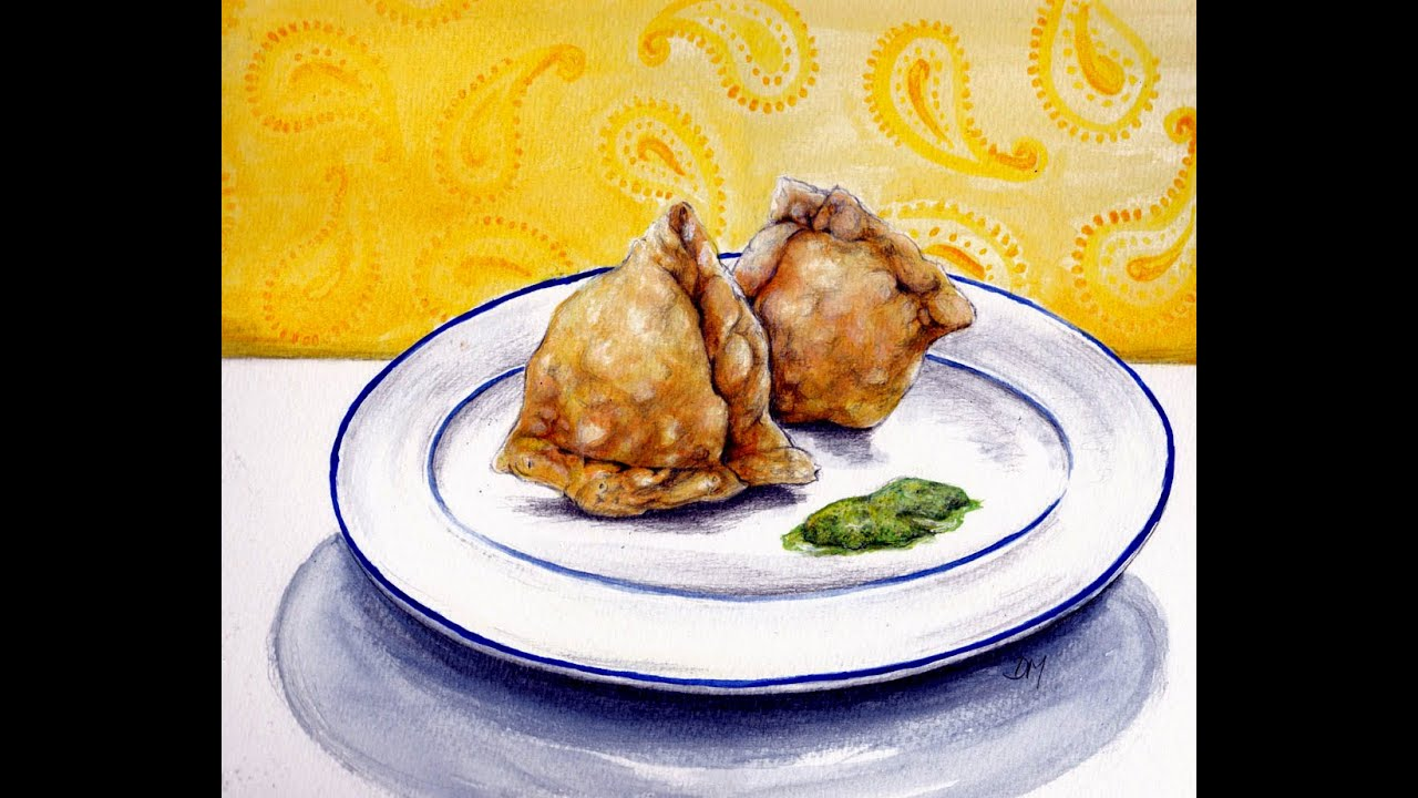 Realstic 3d drawing indian snacks samosas youtube for Cuisine 3d dwg