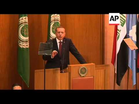 Erdogan arrives, Arab League meeting, comments