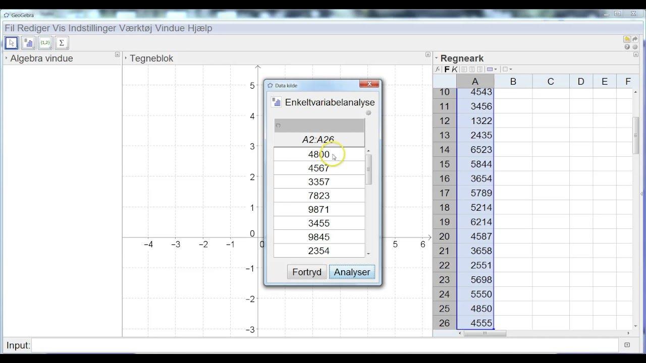Beskrivende statistik i GeoGebra ved  rå data