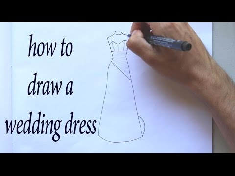 How to draw a wedding dress design youtube for How to draw a wedding dress
