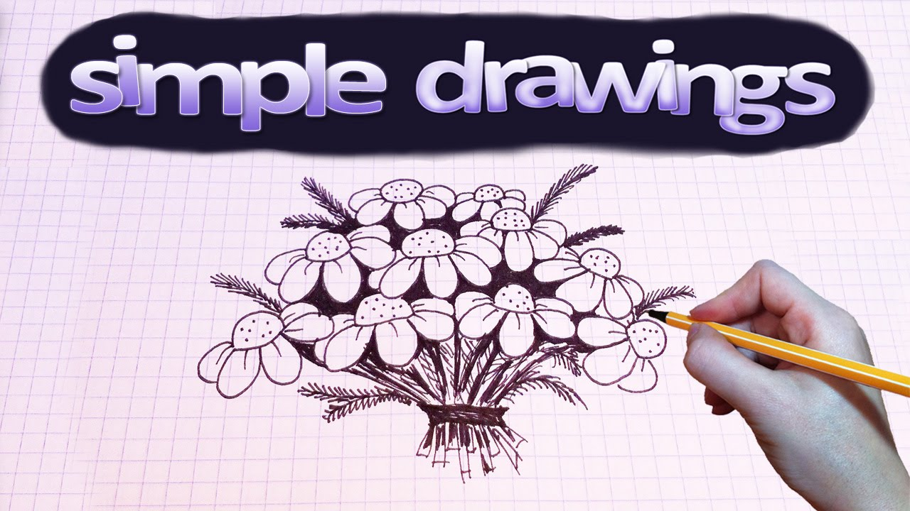 Simple Drawings 4 How To Draw A Bouquet Of Camomile Youtube