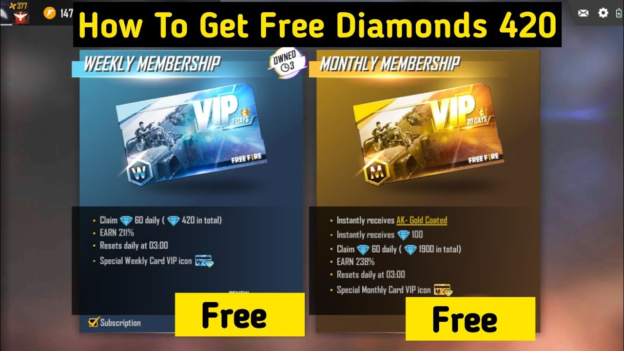 How To Get Free Diamonds And Weekly Membership In Garena Free Fire Unlimited Diamonds Of Free Fire Youtube