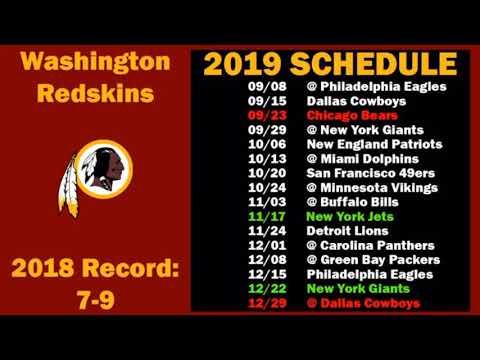 Redskins Schedule 2020.Washington Redskins 2019 2020 Schedule