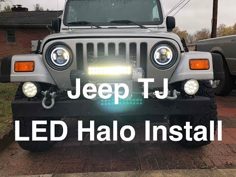 LED Halo Headlight install Jeep  TJ