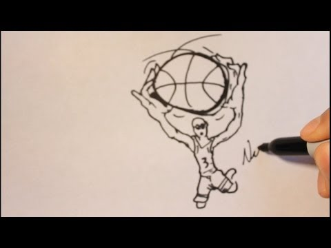 How To Draw A Cartoon Basketball Player Step By Step-Easy Tutorial|Dunking