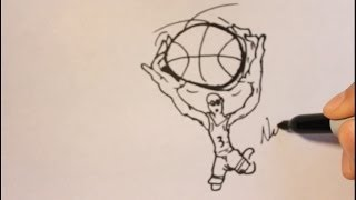 How To Draw A Cartoon Basketball Player Step By Step-Easy Tutorial Dunking
