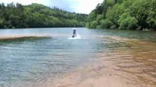 19/07/2012 Humphry (Bernese Mountain Dog) swim in the lake SUGENUMA...