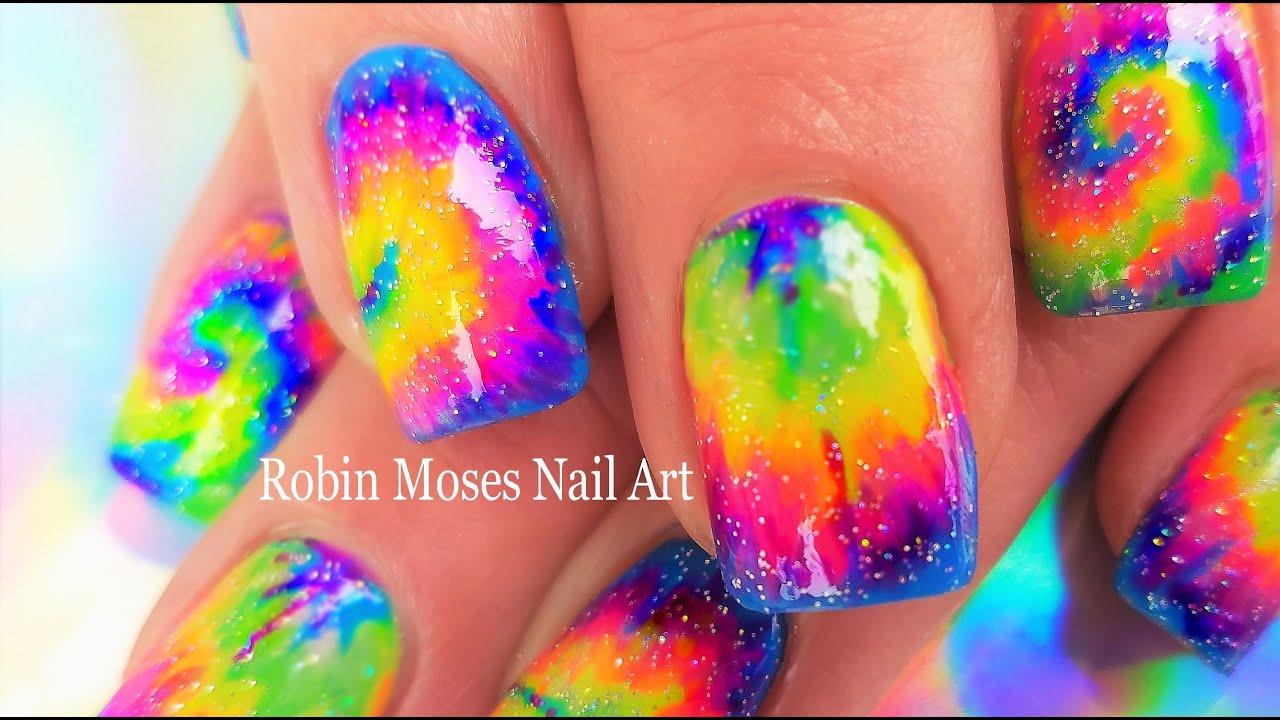 tie dye nail art rainbow swirl