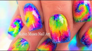 Easy Hand Painted Tie Dye Nail Art! | Spring Neon GOAT  Nails Design