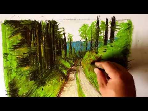 Kresba Suchym Pastelem Lesni Cesta Dry Pastel Youtube
