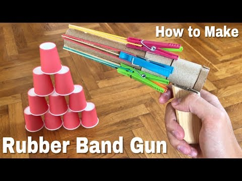 How to Make Rubber Band Gun - Amazing Revolver that shoots