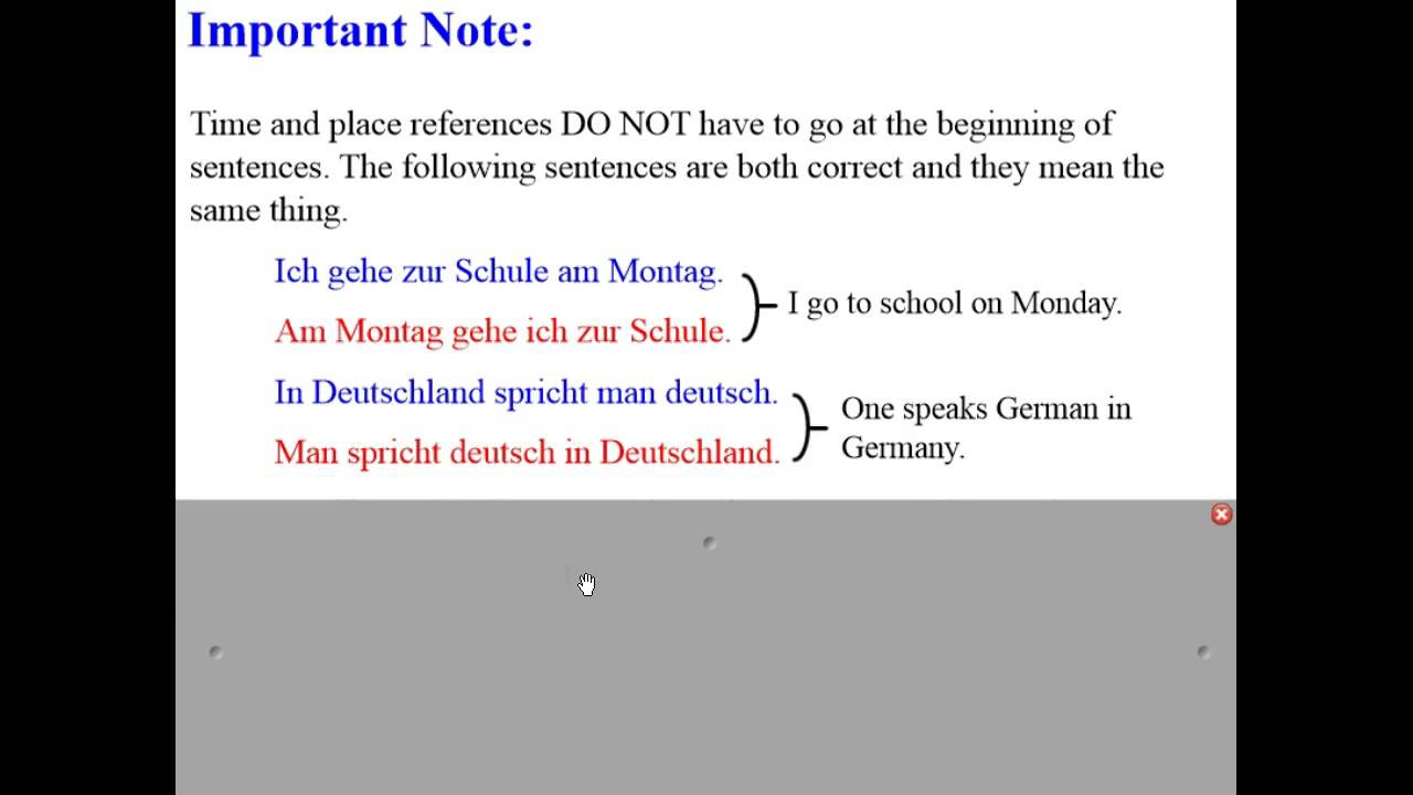 German Word Order Time And Place