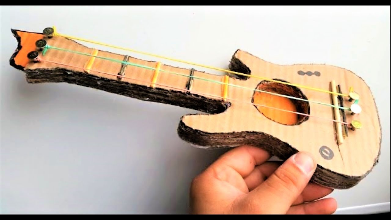 how to make a cardboard guitar - youtube