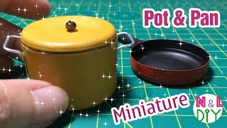 DIY Miniature Pot u0026 Pan | How to make pot u0026 pan for your dollhouse | Dollhouse