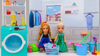Elsa and Anna toddlers do chores