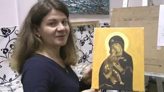 Иконы маслом на холсте. Икона Божией Матери Владимирская