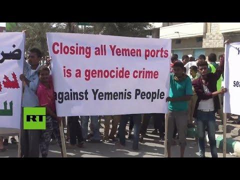 Multitudinaria manifestación en Yemen en contra del bloqueo de la coalición saudita