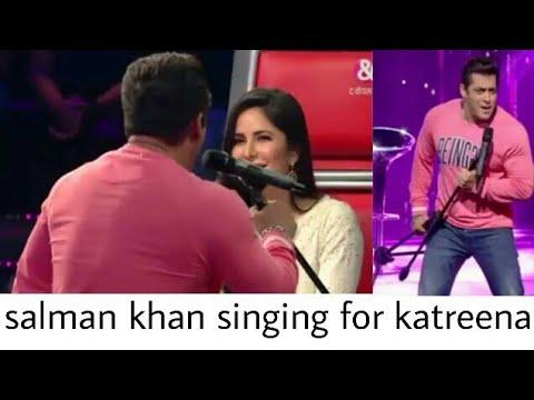 Salaman Khan singing mai hu hero Tera for katreena the voice India kids
