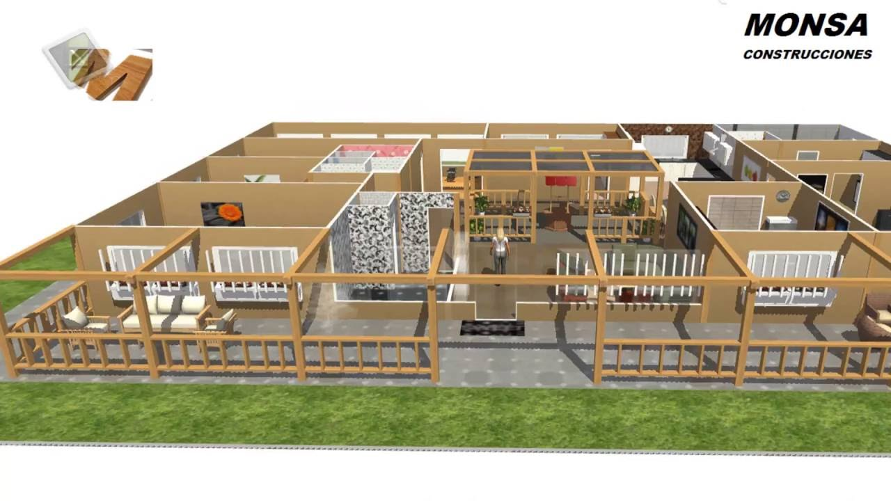 Excellent vivienda de 2 dormitorios y patio central for Planos de casas con patio interior