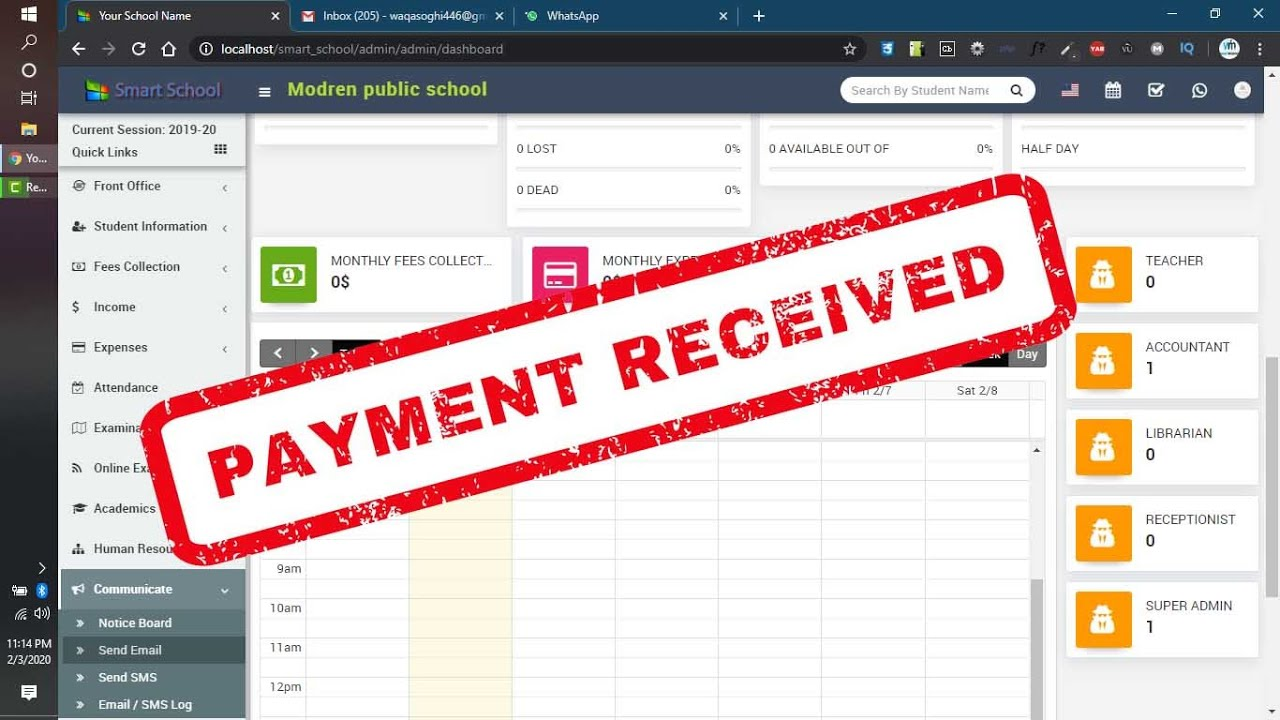 Bank Receipt Copy in Smart School software