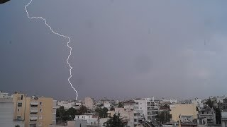 Athens Thunderstorm 18/06/2018 - Close Lightning Strikes and Loud Thunder!