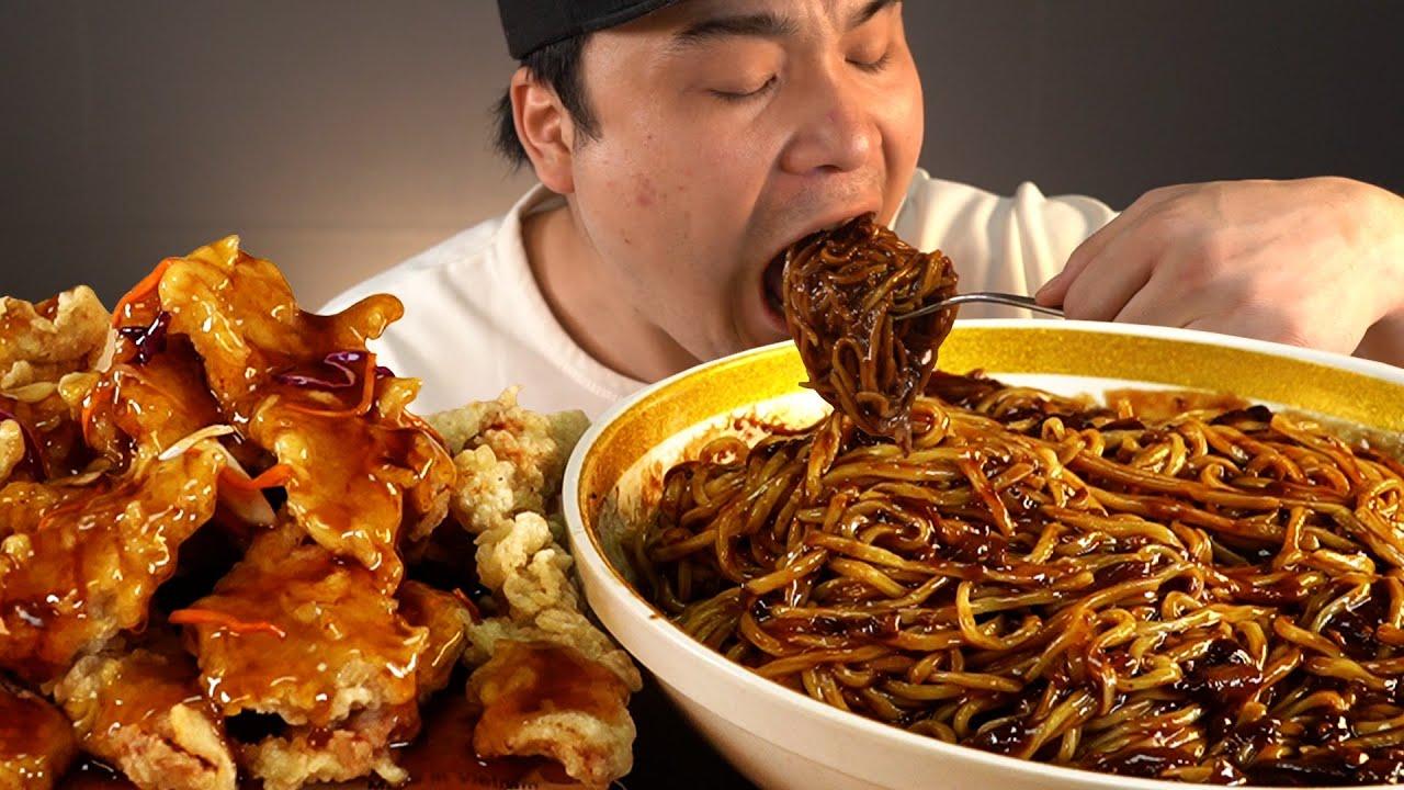 매콤한 불짜장 한그릇과 바삭바삭 구름탕수육 먹방~!! 리얼사운드 ASMR social eating Mukbang(Eating Show)