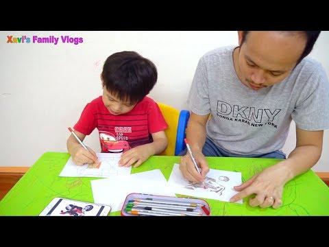 Bạn Xavi và bố thi vẽ xe máy ai đẹp hơn - drawing motorbike, kid drawing with his daddy