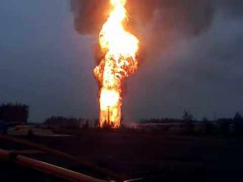Офигенный пожар взрыв нефти на ИНК.