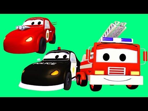 Patrula masinilor camion de pompieri si masina de politie si Masina de curse în Orasul Masinilor